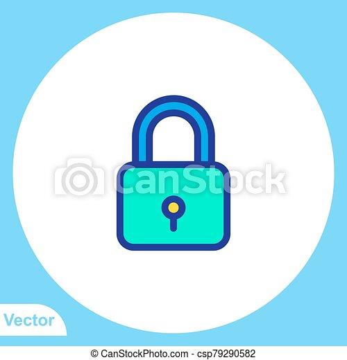 Padlock flat vector icon sign symbol - csp79290582
