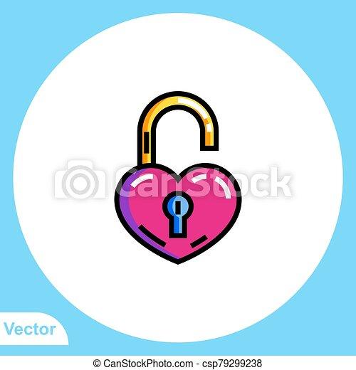 Padlock flat vector icon sign symbol - csp79299238