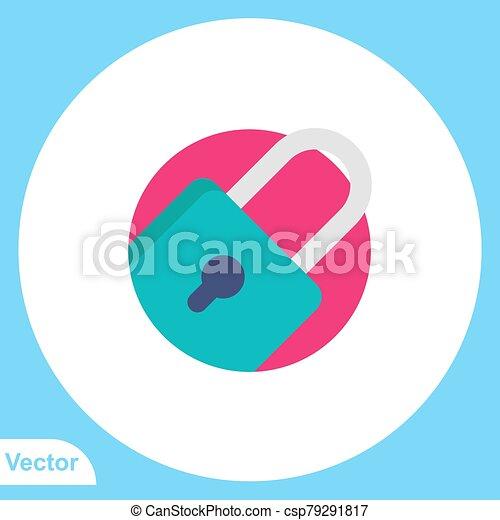 Padlock flat vector icon sign symbol - csp79291817