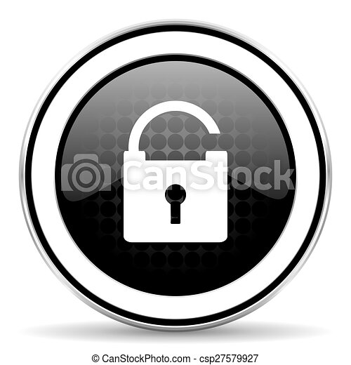 padlock icon, black chrome button, secure sign - csp27579927