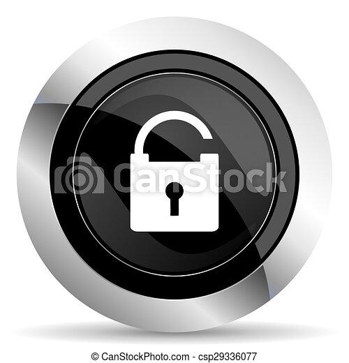 padlock icon, black chrome button, secure sign - csp29336077