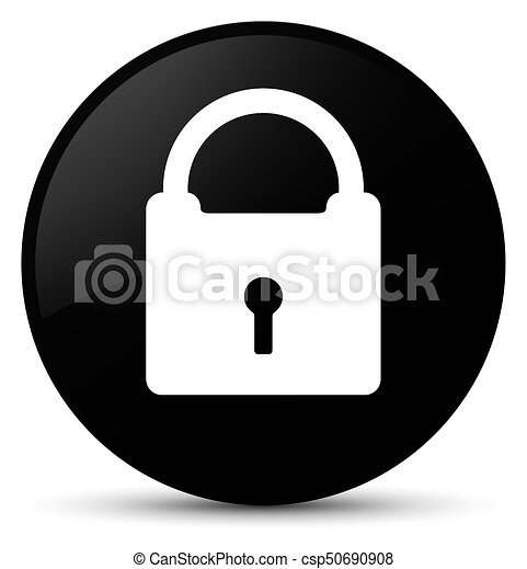 Padlock icon black round button - csp50690908