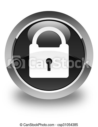 Padlock icon glossy black round button - csp31054385