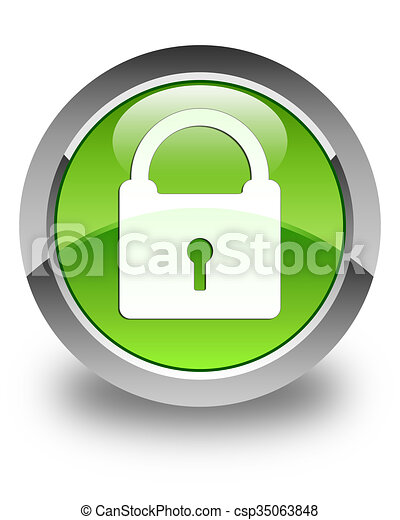 Padlock icon glossy green round button - csp35063848