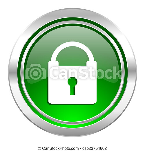 padlock icon, green button, secure sign - csp23754662