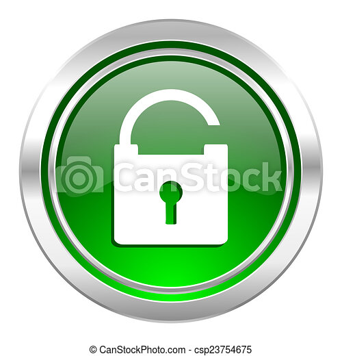 padlock icon, green button, secure sign - csp23754675