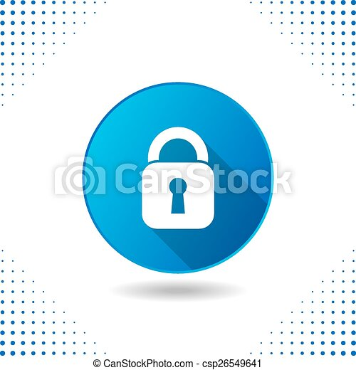 Padlock icon on blue button - csp26549641