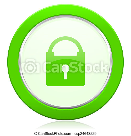 padlock icon secure sign - csp24643229