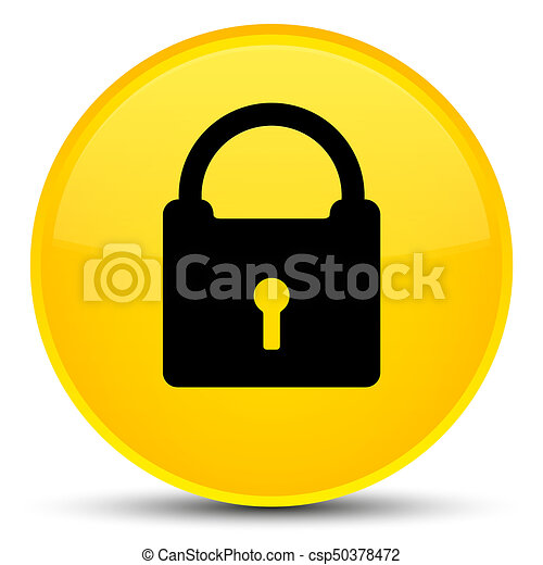 Padlock icon special yellow round button - csp50378472