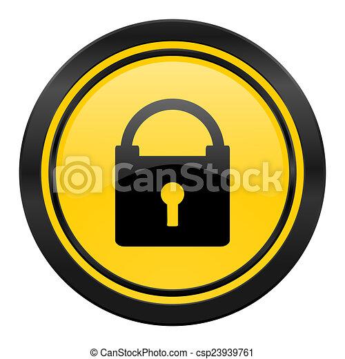 padlock icon, yellow logo, secure sign - csp23939761
