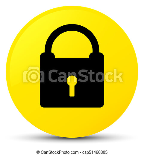 Padlock icon yellow round button - csp51466305