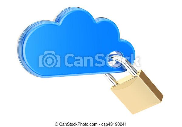 Nube computarizada con candado. El concepto de seguridad y protección, representación 3D - csp43190241