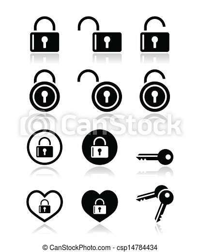Padlock, key vector icons set - csp14784434