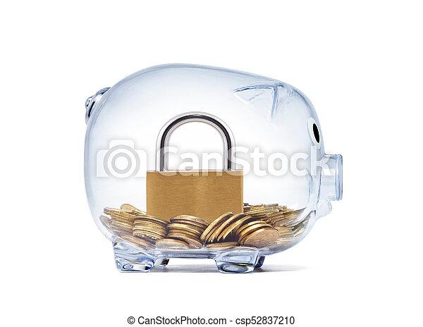 Padlock on money inside transparent piggy bank - csp52837210