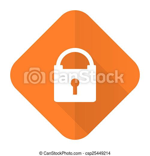 padlock orange flat icon secure sign - csp25449214