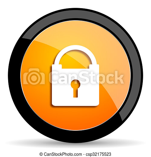 padlock orange icon - csp32175523