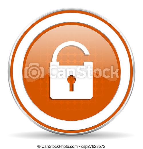 padlock orange icon secure sign - csp27623572