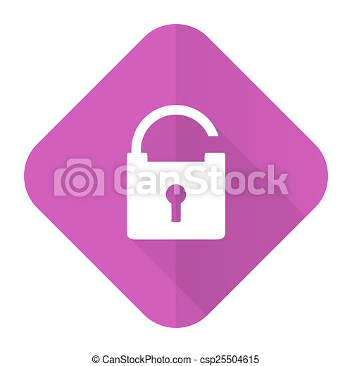 padlock pink flat icon secure sign - csp25504615