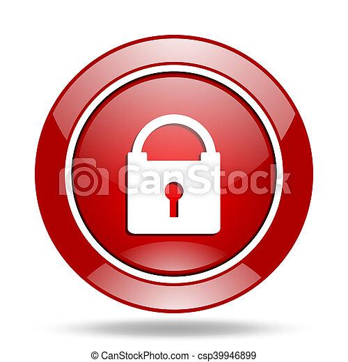 padlock red web glossy round icon - csp39946899