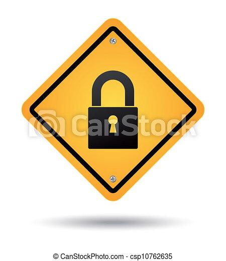 padlock road sign - csp10762635