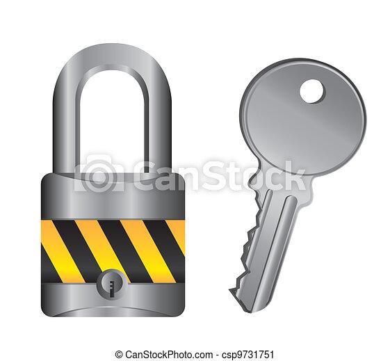 padlock with key - csp9731751