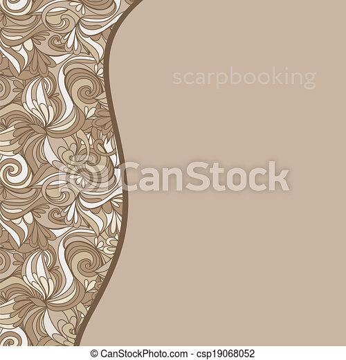 padrão, abstratos, hand-drawn, bege, ondas, cartão - csp19068052