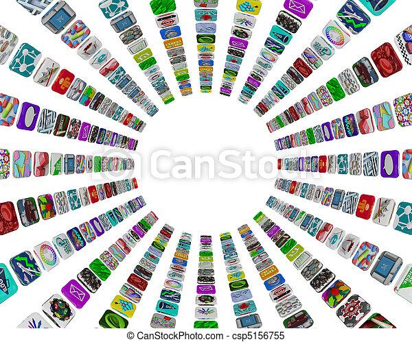 padrão, app, -, botões, fundo, branca, circular - csp5156755