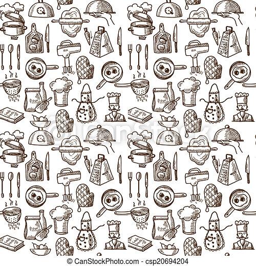 padrão, cozinhar, seamless, ícones - csp20694204