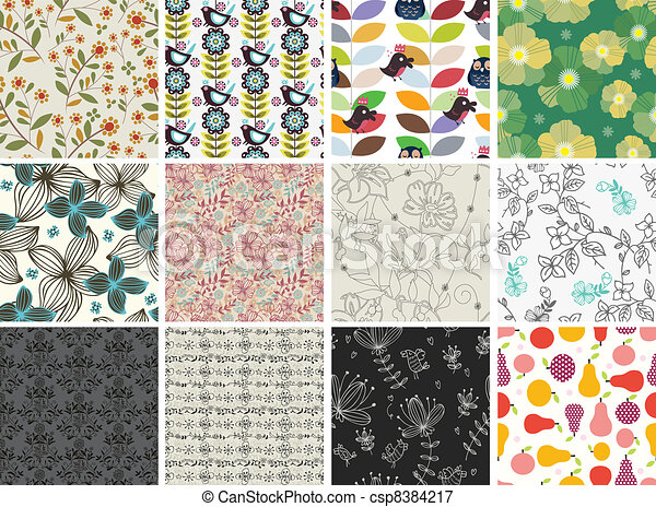 padrão, diferente, jogo, flores, seamless - csp8384217