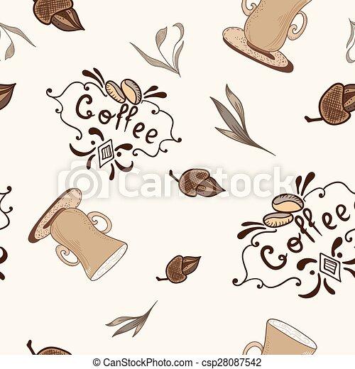 padrão, esboço, vetorial, estilo, coffe - csp28087542