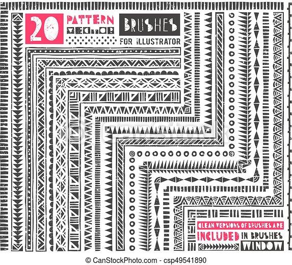 padrão, escovas, jogo, 20, illustrator. - csp49541890