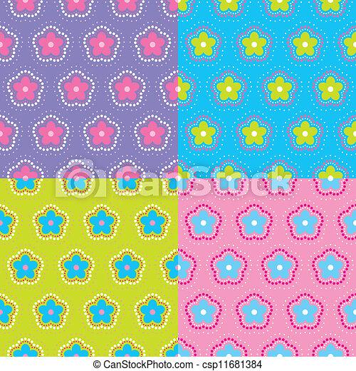 padrão floral, abstratos, set., vector. - csp11681384