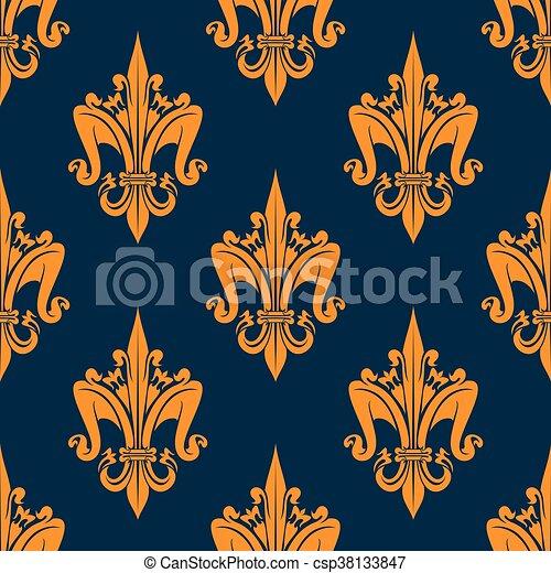 padrão floral, heraldic, fleur-de-lis, seamless - csp38133847
