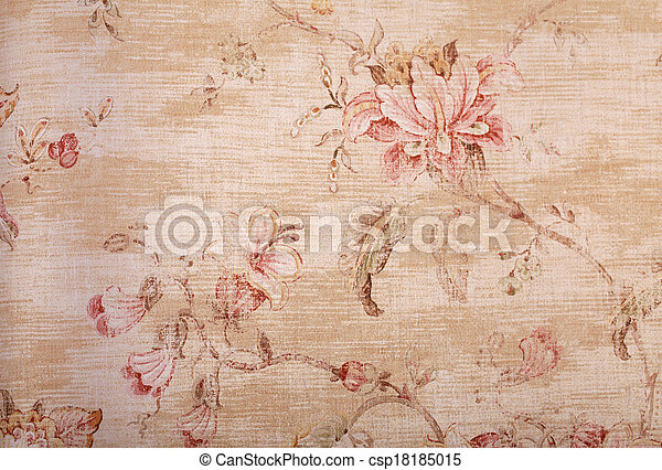 padrão floral, papel parede, roto, bege - csp18185015