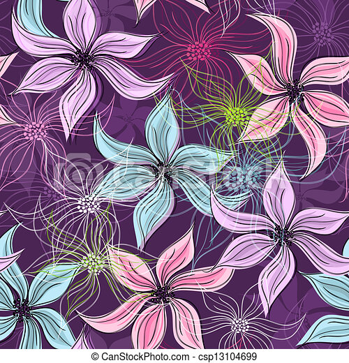padrão floral, repetindo, violeta - csp13104699