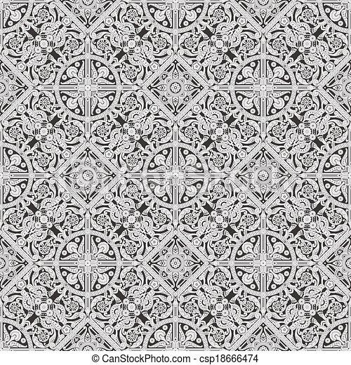 padrão floral, telha, seamless, papel parede - csp18666474