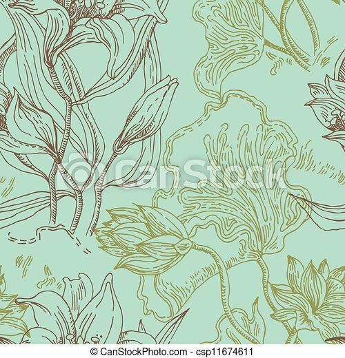 padrão, flores, seamless, papel parede - csp11674611