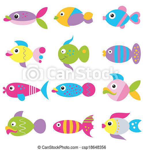 padrão, funky, peixe, coloridos, caricatura - csp18648356