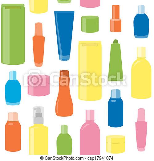 padrão, garrafas, seamless, cosmético - csp17941074