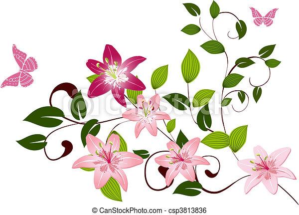 padrão, lírios, flor, ramo - csp3813836