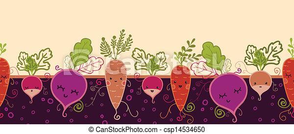 padrão, legumes, seamless, fundo, horizontais, raiz, feliz - csp14534650