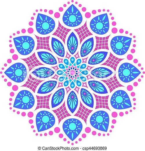 Padrao Mandala Coloridos Cor De Rosa Azul Simetria Padrao