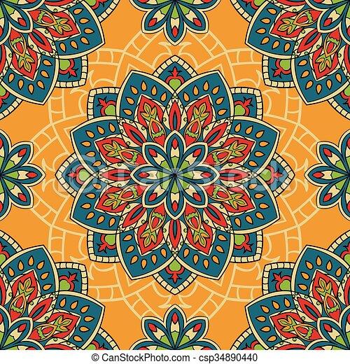 Padrao Mandalas Coloridos Papel Parede Carpet Coloridos