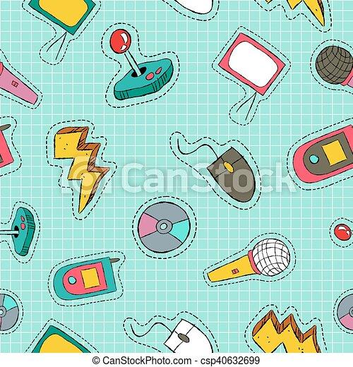 padrão, seamless, remendo, retro, tecnologia, ícone - csp40632699
