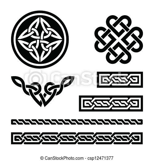 padrões, celta, nó, tranças - csp12471377