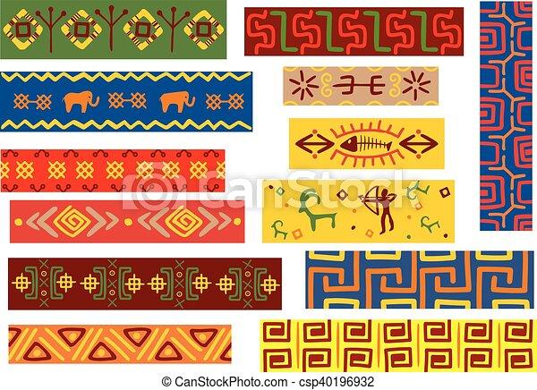 padrões, tribal, africano, ornamentos, étnico - csp40196932