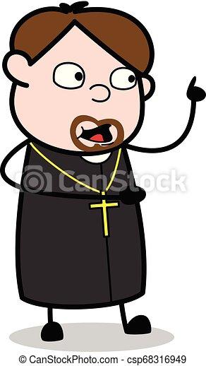 padre, apontar, -, ilustração, falando, enquanto, vetorial, religiosas, caricatura - csp68316949