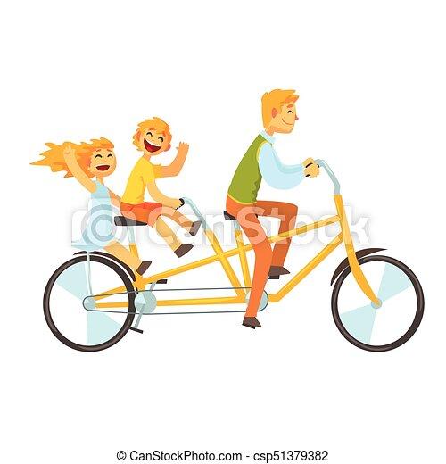 Padre Bicicletta Tandem Bambini Sentiero Per Cavalcate