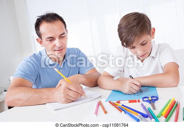 padre, dibujo, juntos, hijo - csp11081764