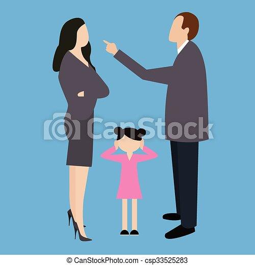 La Pareja De Padres Discuten Frente A La Niña La Pareja De